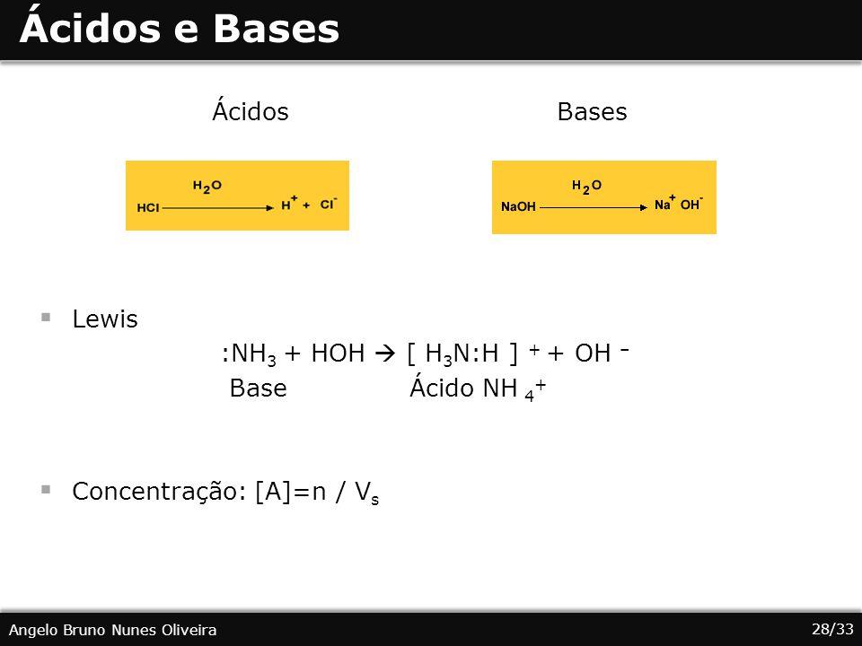 Ácidos e Bases Ácidos Bases Lewis :NH3 + HOH  [ H3N:H ] + + OH –